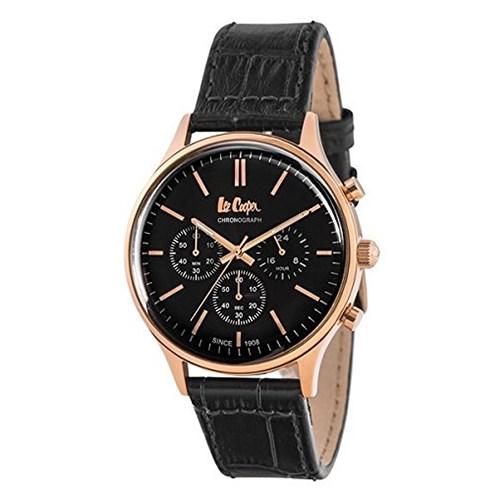 【セット】【正規輸入品】(リークーパー)Lee Cooper 腕時計 LC6293.451 牛本革ブラックレザー メンズ&時計アクセサリーケース ブラック・クロス2枚(革バンド クオーツ 多針アナログ)(快適家電デジタルライフ)