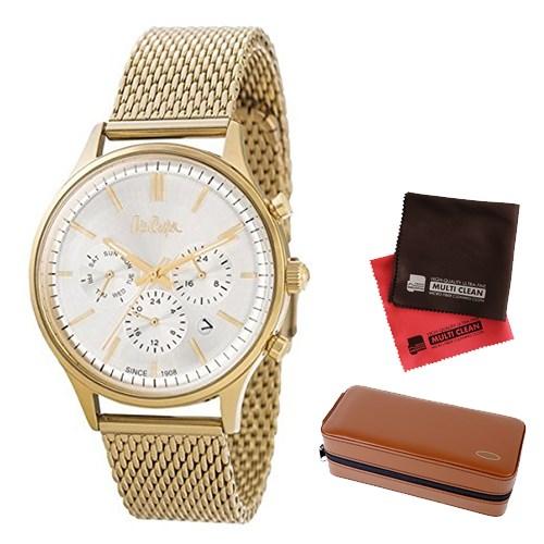【セット】【正規輸入品】(リークーパー)Lee Cooper 腕時計 LC6294.130 ゴールドステンレススチールメッシュ メンズ&時計アクセサリーケース ブラウン・クロス2枚(ステンレスバンド クオーツ 多針アナログ)(快適家電デジタルライフ)
