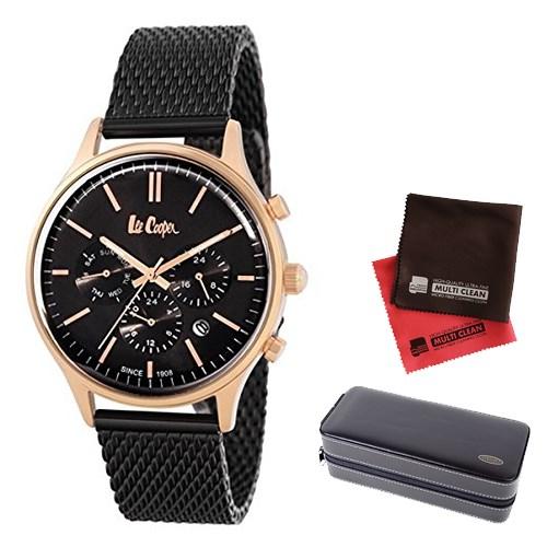 【セット】【正規輸入品】(リークーパー)Lee Cooper 腕時計 LC6294.450 ブラックステンレススチールメッシュ メンズ&時計アクセサリーケース ブラック・クロス2枚(ステンレスバンド クオーツ 多針アナログ)(快適家電デジタルライフ)