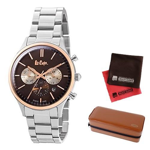 【セット】【正規輸入品】(リークーパー)Lee Cooper 腕時計 LC6295.540 ステンレススチール メンズ&時計アクセサリーケース ブラウン・クロス2枚(ステンレスバンド クオーツ 多針アナログ)(快適家電デジタルライフ)