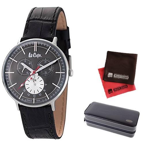 【セット】【正規輸入品】(リークーパー)Lee Cooper 腕時計 LC6383.361 ブラックレザーベルト メンズ&時計アクセサリーケース ブラック・クロス2枚(革バンド クオーツ 多針アナログ)(快適家電デジタルライフ)