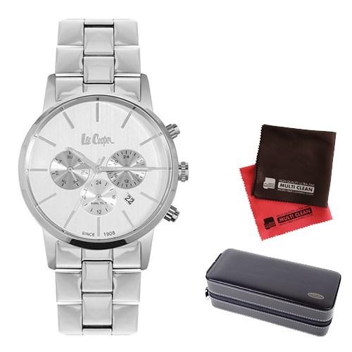 【セット】【正規輸入品】(リークーパー)Lee Cooper 腕時計 LC6343.330 ステンレススチール メンズ&時計アクセサリーケース ブラック・クロス2枚(ステンレスバンド クオーツ 多針アナログ)(快適家電デジタルライフ)