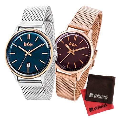 【ペア箱入りセット】【正規輸入品】(リークーパー)Lee Cooper 腕時計 LC6291.590 メンズ・LC6301.480 レディース&クロス2枚(ステンレスバンド クオーツ アナログ ペアウォッチ)(快適家電デジタルライフ)