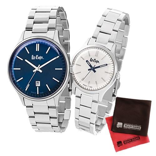 【ペア箱入りセット】【正規輸入品】(リークーパー)Lee Cooper 腕時計 LC6292.390 メンズ・LC6300.330 レディース&クロス2枚(ステンレスバンド クオーツ アナログ ペアウォッチ)(快適家電デジタルライフ)