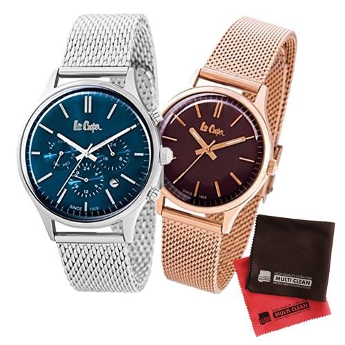 【ペア箱入りセット】【正規輸入品】(リークーパー)Lee Cooper 腕時計 LC6294.390 メンズ・LC6301.480 レディース&クロス2枚(ステンレスバンド クオーツ アナログ ペアウォッチ)(快適家電デジタルライフ)