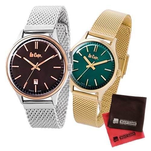 【ペア箱入りセット】【正規輸入品】(リークーパー)Lee Cooper 腕時計 LC6291.540 メンズ・LC6301.270 レディース&クロス2枚(ステンレスバンド クオーツ アナログ ペアウォッチ)(快適家電デジタルライフ)