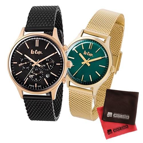 【ペア箱入りセット】【正規輸入品】(リークーパー)Lee Cooper 腕時計 LC6294.450 メンズ・LC6301.270 レディース&クロス2枚(ステンレスバンド クオーツ アナログ ペアウォッチ)(快適家電デジタルライフ)