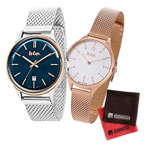 【ペア箱入りセット】【正規輸入品】(リークーパー)Lee Cooper 腕時計 LC6291.590 メンズ・LC6339.430 レディース&クロス2枚(ステンレスバンド クオーツ アナログ ペアウォッチ)(快適家電デジタルライフ)