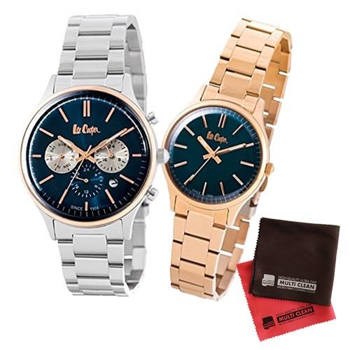 【ペア箱入りセット】【正規輸入品】(リークーパー)Lee Cooper 腕時計 LC6295.590 メンズ・LC6300.490 レディース&クロス2枚(ステンレスバンド クオーツ アナログ ペアウォッチ)(快適家電デジタルライフ)