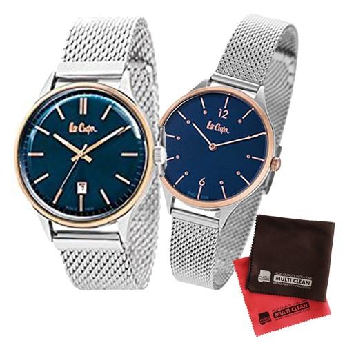 【ペア箱入りセット】【正規輸入品】(リークーパー)Lee Cooper 腕時計 LC6291.590 メンズ・LC6339.590 レディース&クロス2枚(ステンレスバンド クオーツ アナログ ペアウォッチ)(快適家電デジタルライフ)