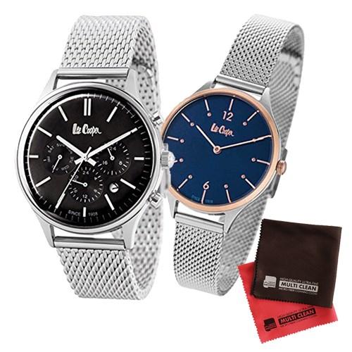 【ペア箱入りセット】【正規輸入品】(リークーパー)Lee Cooper 腕時計 LC6294.350 メンズ・LC6339.590 レディース&クロス2枚(ステンレスバンド クオーツ アナログ ペアウォッチ)(快適家電デジタルライフ)