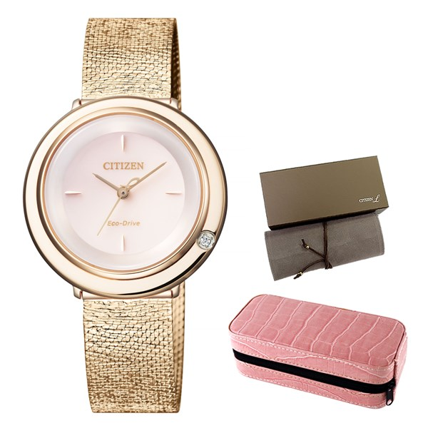 (時計ケースセット)(国内正規品)(シチズン)CITIZEN 腕時計 EM0643-92X L(エル) レディース アンビリュナ(ステンレスバンド ソーラー アナログ)(快適家電デジタルライフ)