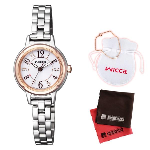 (クロスセット)(国内正規品)(シチズン)CITIZEN 腕時計 KP3-619-11 (ウィッカ)wicca レディース&パールブレスレット(ステンレスバンド ソーラー アナログ)(快適家電デジタルライフ)