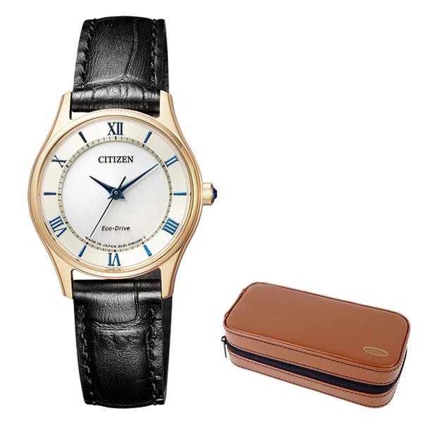 (時計ケースセット)(国内正規品)(シチズン)CITIZEN 腕時計 EM0402-13P Cコレクション レディース ペアモデル ウィンター 限定(牛革バンド ソーラー アナログ)(快適家電デジタルライフ)