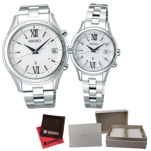 (ペア箱入りセット)(国内正規品)(セイコー)SEIKO 腕時計 SSVH025 メンズ・SSVV035 レディース (ルキア)LUKIA&クロス2枚(ステンレスバンド 電波ソーラー アナログ ペアウォッチ)(快適家電デジタルライフ)