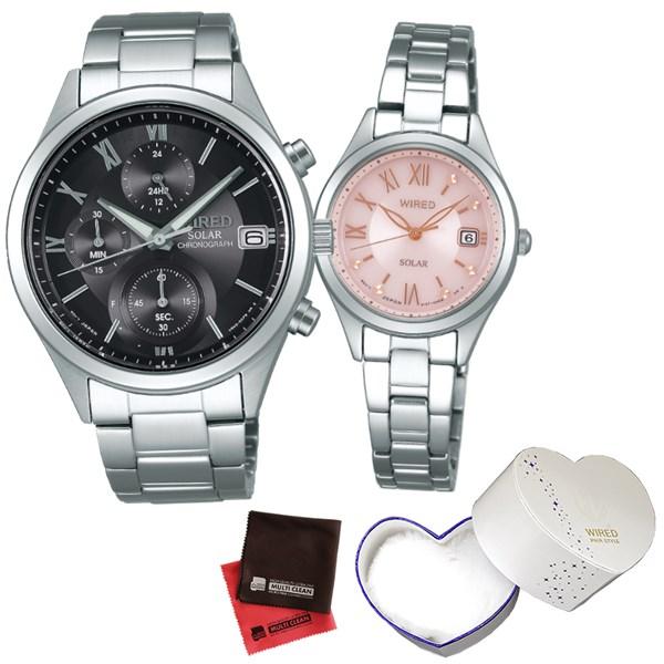 (10月新商品)(ペア箱入り・クロスセット)(国内正規品)(セイコー)SEIKO 腕時計 AGAD098・AGED105 (ワイアード)WIRED ペア(ステンレスバンド ソーラー ペアウォッチ)(快適家電デジタルライフ)
