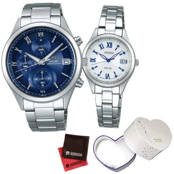 (10月新商品)(ペア箱入り・クロスセット)(国内正規品)(セイコー)SEIKO 腕時計 AGAD096・AGED104 (ワイアード)WIRED ペア(ステンレスバンド ソーラー ペアウォッチ)(快適家電デジタルライフ)