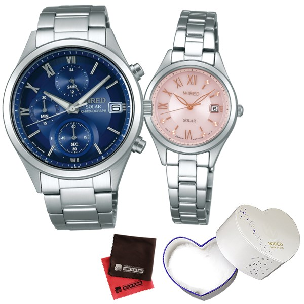 (ペア箱入り・クロスセット)(国内正規品)(セイコー)SEIKO 腕時計 AGAD096・AGED105 (ワイアード)WIRED ペア(ステンレスバンド ソーラー ペアウォッチ)(快適家電デジタルライフ)