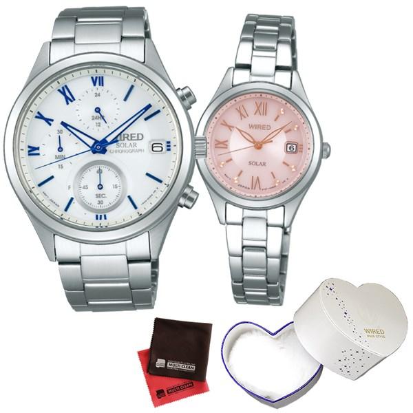 (ペア箱入り・クロスセット)(国内正規品)(セイコー)SEIKO 腕時計 AGAD097・AGED105 (ワイアード)WIRED ペア(ステンレスバンド ソーラー ペアウォッチ)(快適家電デジタルライフ)