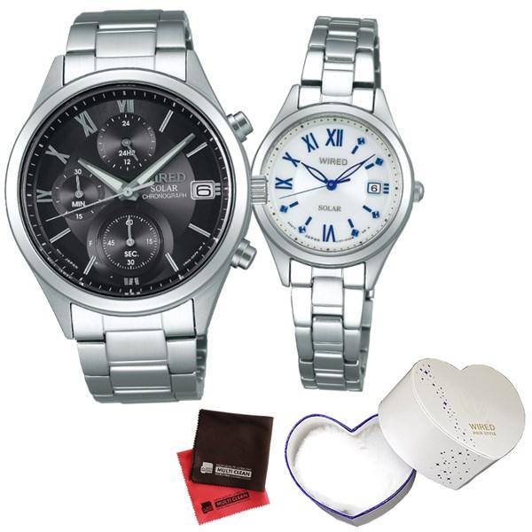 (ペア箱入り・クロスセット)(国内正規品)(セイコー)SEIKO 腕時計 AGAD098・AGED104 (ワイアード)WIRED ペア(ステンレスバンド ソーラー ペアウォッチ)(快適家電デジタルライフ)