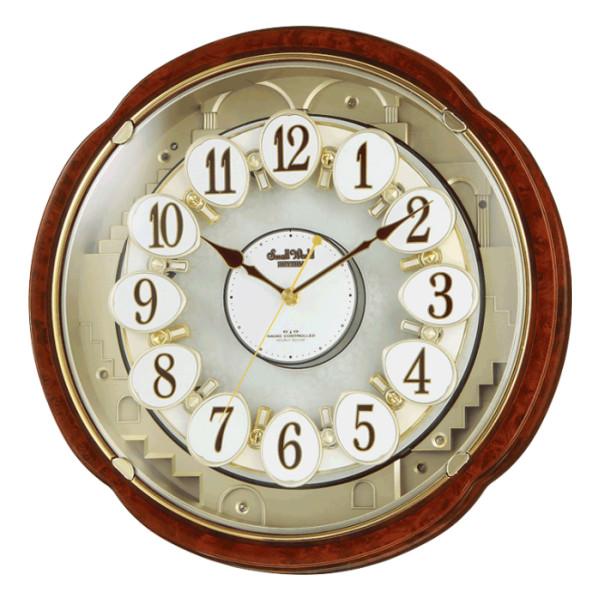 リズム時計 電波からくり時計 スモールワールド コンベルS (4MN480RH23)【掛け時計/電波時計】【SmallWorld】【送料無料】【快適家電デジタルライフ】