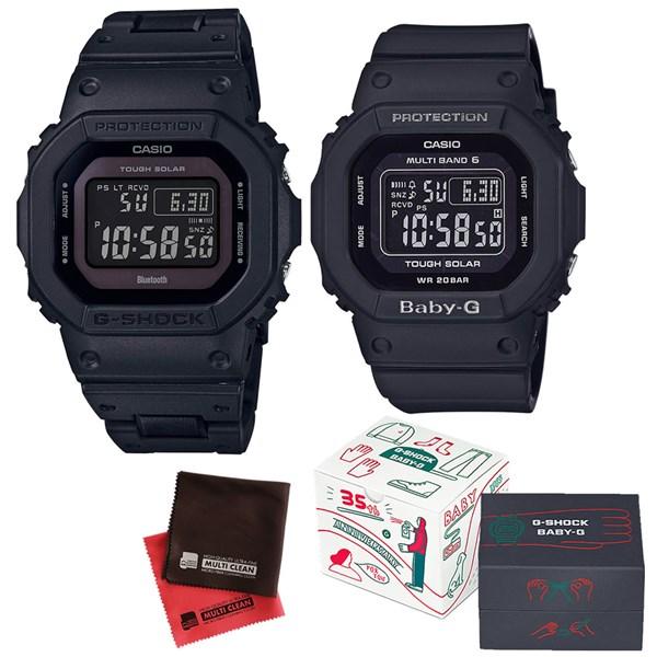 (限定ペア箱入り・クロスセット)(国内正規品)(カシオ)CASIO ペアソーラー電波腕時計 GW-B5600BC-1BJF メンズ・BGD-5000MD-1JF レディース G-SHOCK&BABY-G(樹脂バンド 電波ソーラー デジタル ペアウォッチ)(快適家電デジタルライフ)