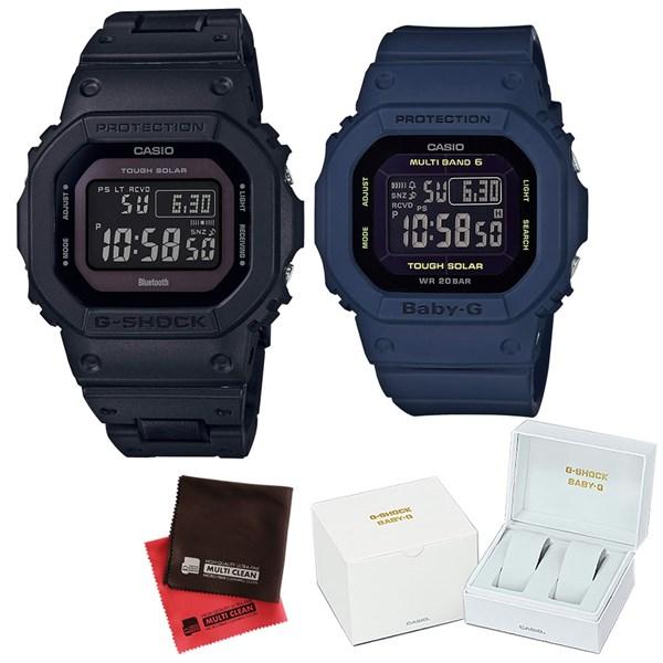(ペア箱入り・クロスセット)(国内正規品)(カシオ)CASIO ペアソーラー電波腕時計 GW-B5600BC-1BJF メンズ・BGD-5000-2JF レディース G-SHOCK&BABY-G(樹脂バンド 電波ソーラー デジタル ペアウォッチ)(快適家電デジタルライフ)