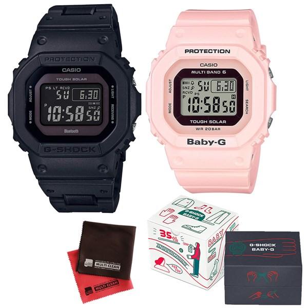 (限定ペア箱入り・クロスセット)(国内正規品)(カシオ)CASIO ペアソーラー電波腕時計 GW-B5600BC-1BJF メンズ・BGD-5000-4BJF レディース G-SHOCK&BABY-G(樹脂バンド 電波ソーラー デジタル ペアウォッチ)(快適家電デジタルライフ)