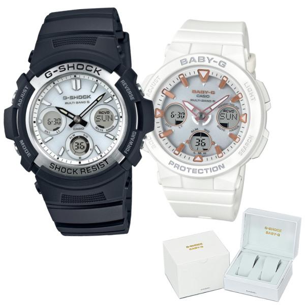 (ペア箱入り・クロスセット)(国内正規品)(カシオ)CASIO ペアソーラー電波腕時計 AWG-M100S-7AJF メンズ・BGA-2500-7AJF レディース G-SHOCK&BABY-G(樹脂バンド 電波ソーラー アナデジ ペアウォッチ)(快適家電デジタルライフ)