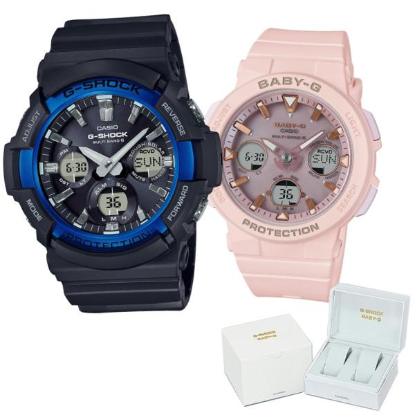 (ペア箱入り・クロスセット)(国内正規品)(カシオ)CASIO ペアソーラー電波腕時計 GAW-100B-1A2JF メンズ・BGA-2500-4AJF レディース G-SHOCK&BABY-G(樹脂バンド 電波ソーラー アナデジ ペアウォッチ)(快適家電デジタルライフ)