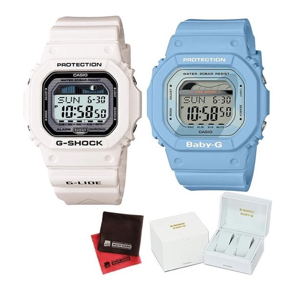 (ペア箱入り・クロスセット)(国内正規品)(カシオ)CASIO (ジーライド)G-LIDE GLX-5600-7JF メンズ・BLX-560-2JF レディース G-SHOCK&BABY-G Retro surf colors(樹脂バンド クオーツ アナログ ペアウォッチ)(快適家電デジタルライフ)