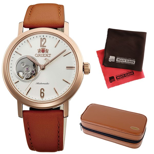 (時計ケース・クロスセット)(国内正規品)(オリエント)ORIENT 腕時計 WV0461DB (スタイリッシュ&スマート)STYLISH AND SMART SEMI SKELETON-C セミスケルトン(機械式 自動巻き ナチュラルクリーム ユニセックス アナログ 革バンド)(快適家電デジタルライフ)