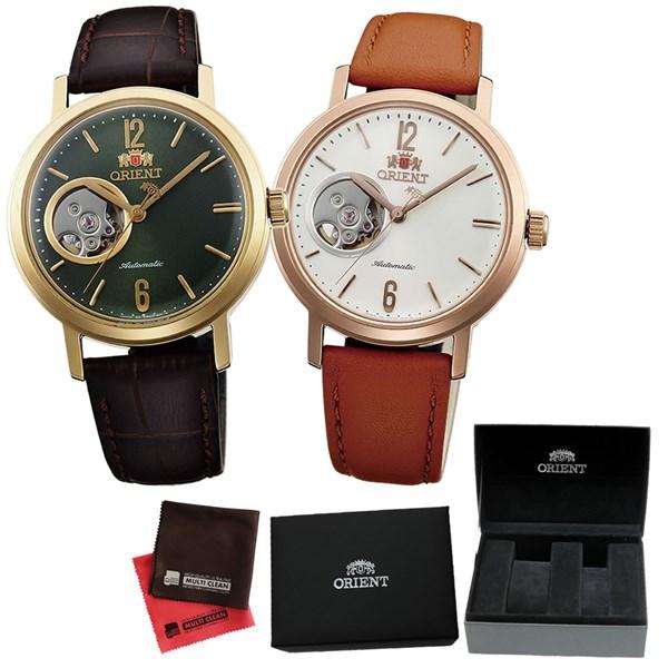 (ペア箱入り・クロスセット)(国内正規品)(オリエント)ORIENT 腕時計 WV0451DB (グリーン)・WV0461DB (ホワイト) (スタイリッシュ&スマート)STYLISH AND SMART セミスケルトン(自動巻き ユニセックス アナログ 革バンド ペアウォッチ)(快適家電デジタルライフ)