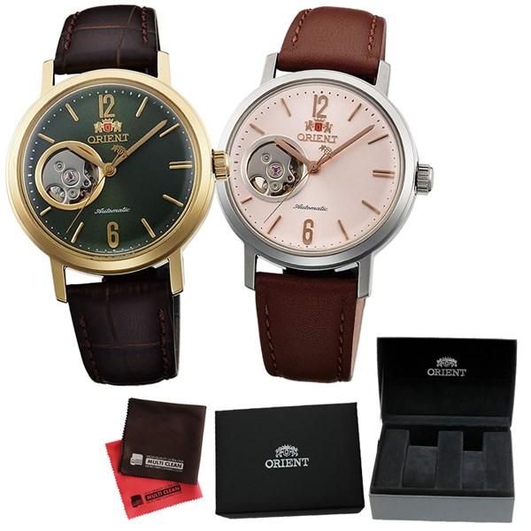 (ペア箱入り・クロスセット)(国内正規品)(オリエント)ORIENT 腕時計 WV0451DB (グリーン)・WV0471DB (ピンク) (スタイリッシュ&スマート)STYLISH AND SMART セミスケルトン(自動巻き ユニセックス アナログ 革バンド ペアウォッチ)(快適家電デジタルライフ)