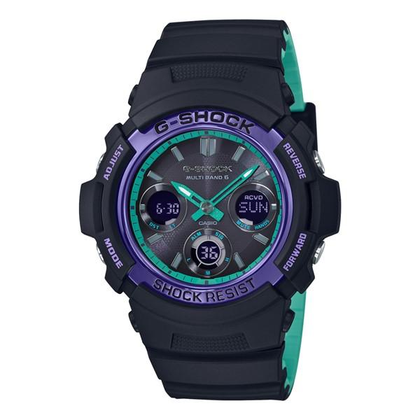 (4月新商品)(4月6日発売予定)(国内正規品)(カシオ)CASIO 腕時計 AWG-M100SBL-1AJF (ジーショック)G-SHOCK メンズ BLACK & 90s Color(樹脂バンド 電波ソーラー アナデジ)(快適家電デジタルライフ)