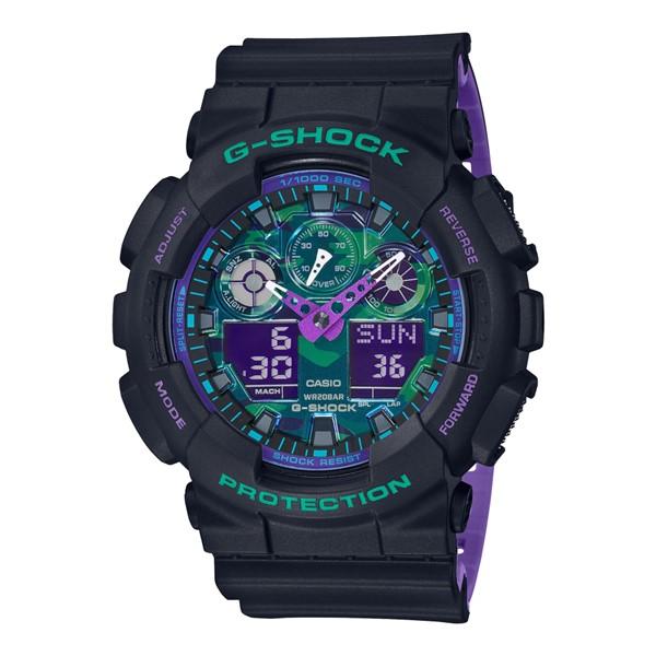 (4月新商品)(4月6日発売予定)(国内正規品)(カシオ)CASIO 腕時計 GA-100BL-1AJF (ジーショック)G-SHOCK メンズ BLACK & 90s Color(樹脂バンド クオーツ アナデジ)(快適家電デジタルライフ)