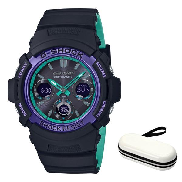 (4月新商品)(4月6日発売予定)(時計ケースセット)(国内正規品)(カシオ)CASIO 腕時計 AWG-M100SBL-1AJF (ジーショック)G-SHOCK メンズ BLACK & 90s Color(樹脂バンド 電波ソーラー アナデジ)(快適家電デジタルライフ)