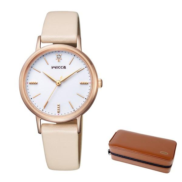 (4月新商品)(4月11日発売予定)(時計ケースセット)(国内正規品)(シチズン)CITIZEN 腕時計 KP5-166-10 (ウィッカ)wicca レディース (牛革バンド ソーラー アナログ)