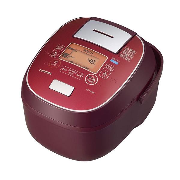 【真空圧力IH炊飯器】東芝 真空IHジャー炊飯器(5.5合炊き) ディープレッドTOSHIBA 鍛造かまど銅釜 RC-10VRM-RS(RC10VRM)(ラッピング不可)(快適家電デジタルライフ)