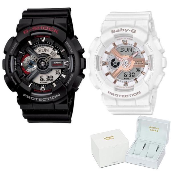 (ペア箱入りセット)(国内正規品)(カシオ)CASIO 腕時計 GA-110-1AJF メンズ・BA-110RG-7AJF レディース G-SHOCK&BABY-G(樹脂バンド クオーツ アナデジ ペアウォッチ)(快適家電デジタルライフ)