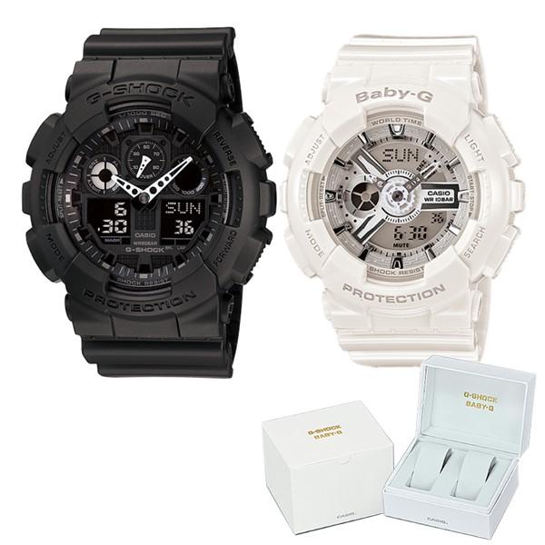 (ペア箱入りセット)(国内正規品)(カシオ)CASIO 腕時計 GA-100-1A1JF メンズ・BA-110-7A3JF レディース G-SHOCK&BABY-G(樹脂バンド クオーツ アナデジ ペアウォッチ)(快適家電デジタルライフ)