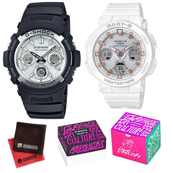 (限定ペア箱入り・クロスセット)(国内正規品)(カシオ)CASIO ペアソーラー電波腕時計 AWG-M100S-7AJF メンズ・BGA-2500-7AJF レディース G-SHOCK&BABY-G(樹脂バンド 電波ソーラー アナデジ ペアウォッチ)(快適家電デジタルライフ)
