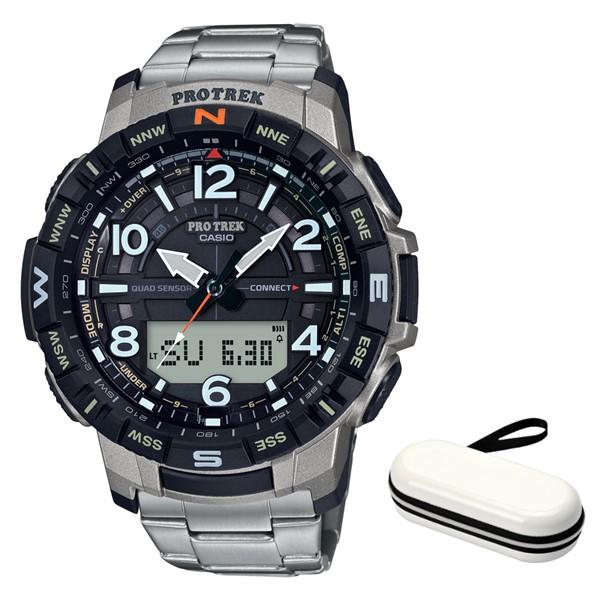 (時計ケースセット)(カシオ)CASIO 腕時計 PRT-B50T-7JF PROTREK(プロトレック) メンズ Bluetooth搭載 チタンバンド ソーラー アナデジ(国内正規品)(快適家電デジタルライフ)