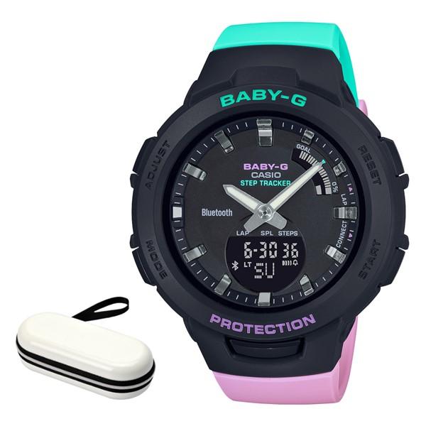 (時計ケースセット)(カシオ)CASIO 腕時計 BSA-B100MT-1AJF (ベビーG)BABY-G レディース G-SQUAD Bluetooth搭載 樹脂バンド クオーツ アナデジ(国内正規品)(快適家電デジタルライフ)