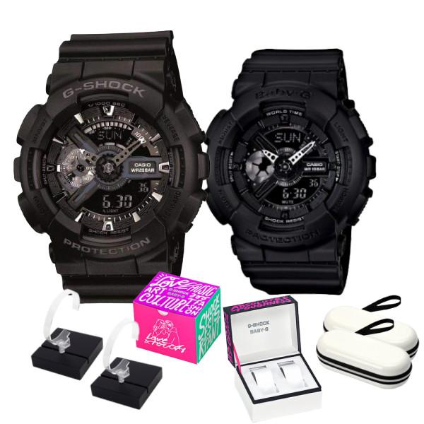 (カシオ福袋セット) (腕時計) [カシオ]CASIO GA-110-1BJF&BA-110BC-1AJF ペア 限定ペア箱 クロス2枚 時計ケース 時計スタンド コインケース(快適家電デジタルライフ)