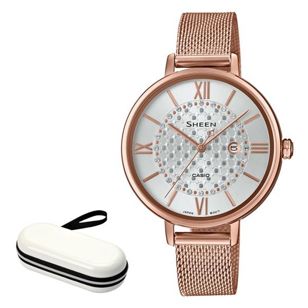 (時計ケースセット)カシオ CASIO 腕時計 SHE-4059PGMJ-7AJF シーン SHEEN レディース ホワイト ピンクゴールド クオーツ ステンレスバンド アナログ(国内正規品)(快適家電デジタルライフ)