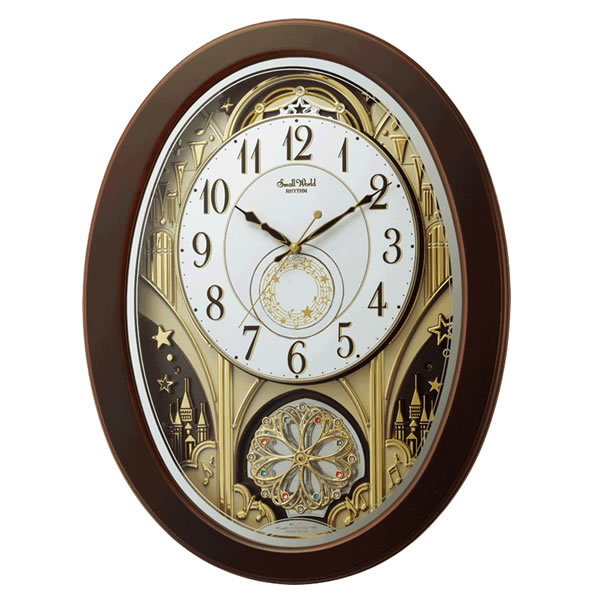 リズム時計 電波掛時計(からくり時計) からくり・アミューズ スモールワールドジューン 4MN526RH06【快適家電デジタルライフ】