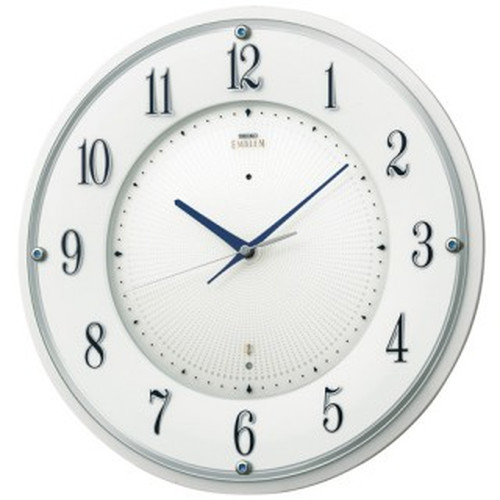 セイコークロック (SEIKO) 【電波掛時計】 EMBLEM(エムブレム) HS543W(ホワイト)【代引き手数料・送料無料】【快適家電デジタルライフ】