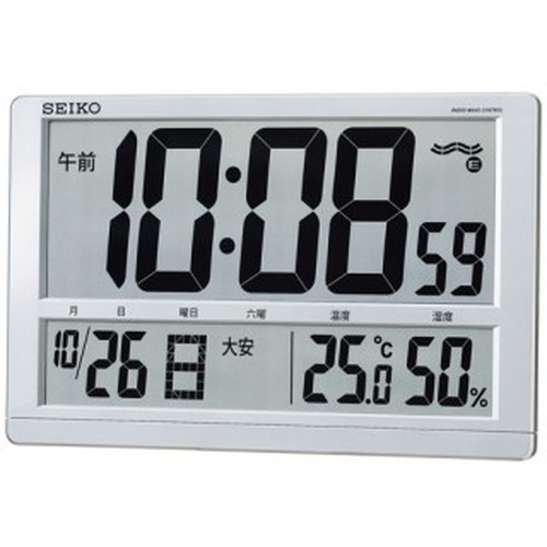 セイコークロック (SEIKO) 【電波デジタル置時計】 SQ433S(大型液晶・温湿度表示)【代引き手数料・送料無料】【快適家電デジタルライフ】