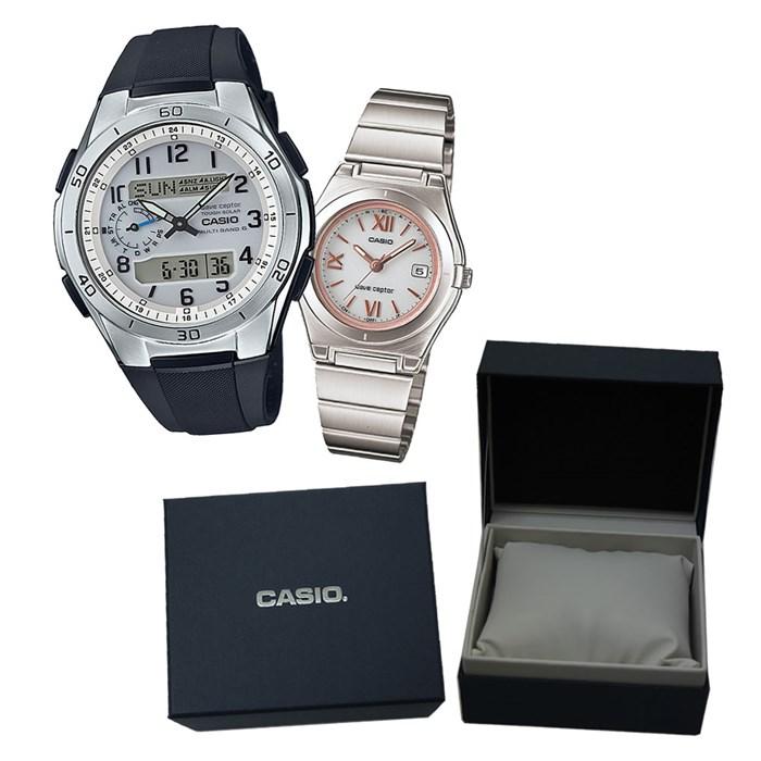 国内正規品カシオソーラー電波時計 ペア箱入りセット CASIO カシオ腕時計WVA M650 7AJF メンズ・qUGMVpSLjz
